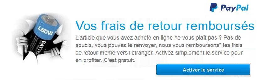 Retour gratuit en utilisant le service Paypal